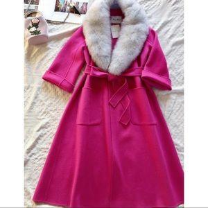 💯 Premium Cashmere Double Face Hot Pink Coat